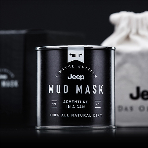 "Limited Edition Jeep Mud Mask ""Adventure in a can"" 100% All Natural Dirt. Just Add Water. For emergency use only. Do not apply unless real adventure is not an option. Canned in Germany. Ha! Great packaging and amusing concept."