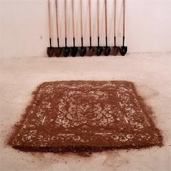 """A """"dirt"""" rug by sculptor Cal Lane"""