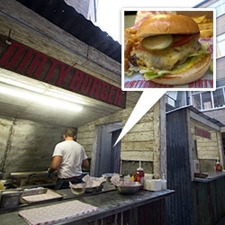 Dirty Burger (& Dirty Breakfast) pop up in a back alley behind Soho House, London. For now, London's latest burger joint is on the move, popping up across the city, but is getting ready to open a more permanent home at the end of August!