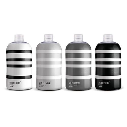 Dirty Lemon Beverages in detox, energy, skin+hair, and sleep. Fun, simple packaging style.