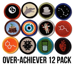 The over-achiever 12 pack of merit badges from Disorderly Goods is 'for those of us who are undeniably excellent!'