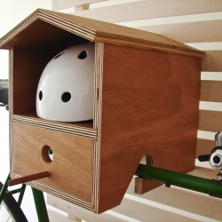 A great indoor storage solution for road bikes. The rack is handmade of mahogany plywood and is super easy to mount to the wall. The Bike Rack Birdhouse is perfect for a small home that needs more space or the cottage.  Pick one up at www.dimini.ca