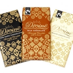 Fair trade goods tend to look a bit cheap. Divine Chocolate is a exception.  They make fair trade chocolate and packages it in a nice, posh, wrapper. It doesn't hurt that it also tastes good.