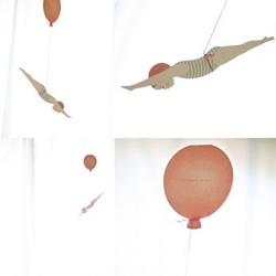 Diving girl card ~ sure to brighten up anyone's day as it hangs with her floating from the balloon!