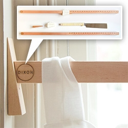"Dixon Brand Considered Curtain Rod ~ ""Simply measure the opening of the window, cut the rod on the corresponding mark, and wedge into position with the supplied matching wedge."""