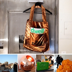 Tom Dixon + Dwell + Veuve Clicquot Party ~ with insanely nice views on a gorgeous day ~ fun lighting to check out ~ flowing bubbly ~ and quite the metallic tote with the perfect pocket for magazine showing off... and a crazy self portrait of me...