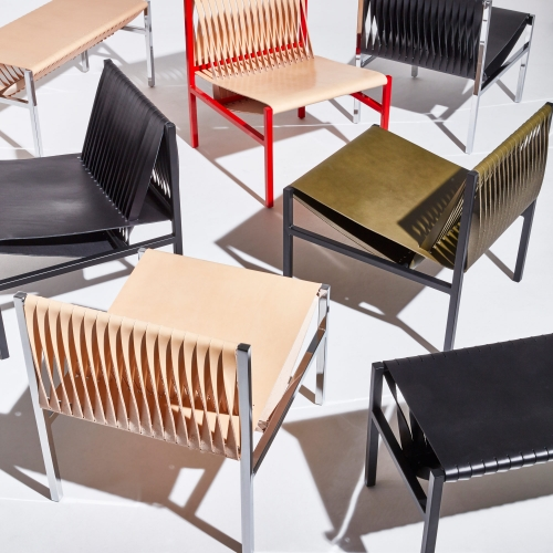 The new DL Collection by Dion Lee and GibsonKarlo is  for DesignByThem. It references the iconic Bauhaus slung leather furniture typology, and combines Italian saddle leather tensioned over a steel frame.