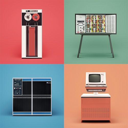 "Docubyte ""Guide to Computing"" - A colorful photographic series of ten historic computers featuring IBM 1401, Alan Turing's Pilot ACE, and more. Prints coming soon."
