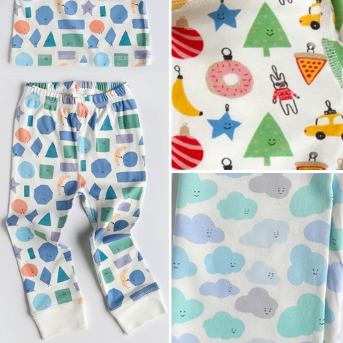 Dodo Banana - adorable happy illustrated prints on these GOTS 100% organic pima cotton kids pjs. Favorites - Shapes, Ornaments, and Clouds! Collaboration between artist Alessandra Olanow and retailer/designer Fiona Montgomery.