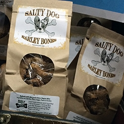 Salty Dog Barley Bones - for beer and dog lovers, found these at Rogue Ales HQ in Newport, OR. Dog biscuits baked with the grain from Rogue Ales (and peanut butter!) In minis and big bones. Bucky LOVES them.