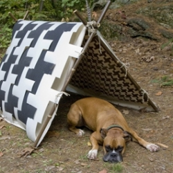Houndstooth is for dogs! A modular, biodegradable plastic tent for canine campers that collapses easily for packing and pieces together over a bamboo A-frame.
