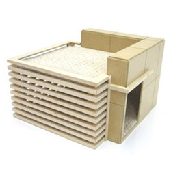 Frank Lloyd Wright inspired dog house from Pre-Fab-Pets.com.  The perfect gift for your Modernist dog!