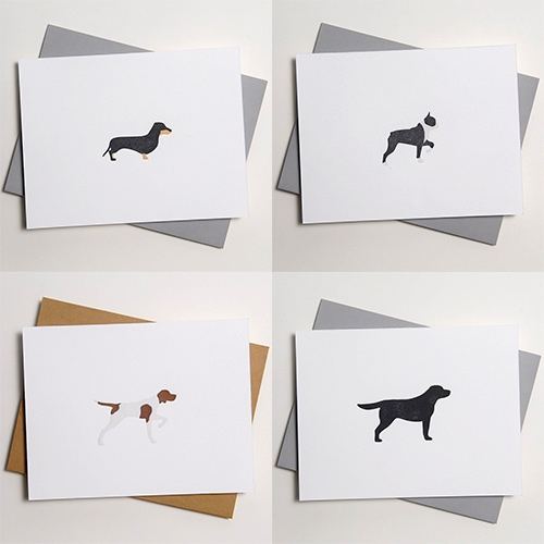Letterpressed Dog Cards - a variety of breed silhouettes standing and pointing! By Loyal Supply Co.