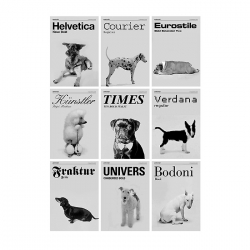 Dog breeds as typefaces.
