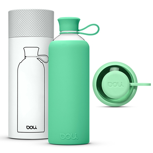 Doli Bottles - borosilicate glass bottles with durable, removable silicone covers in a popping selection of colors. Unique filigree-shaped opening with a silicone lid.