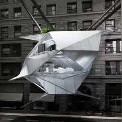 Suspended in air, the (Doll)house inside Calvin Klein's Madison Avenue store nevertheless contains a kernel of an idea for accommodating growth in rapidly-densifying cities. The project was designed by REX.