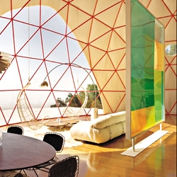 A look inside a prefabricated geodesic dome erected on top of a mountain outside of Ojai, California.