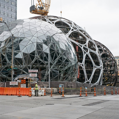 "NYTimes ""Forget Beanbag Chairs. Amazon Is Giving Its Workers Treehouses."" - In addition to a 1 acre greenhouse in Redmond, they are building 3 spheres in downtown Seattle!"