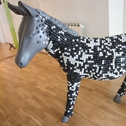 For the GALP Donkey Parade, an initiative to raise awareness of adult literacy issues, The Potting Shed created Dick the Don-Key, made with 5000 computer keys, 10 tubes of silica gel and a lot of man hours.