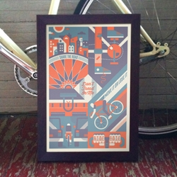 New bike-themed poster celebrating downtown cycling: Don't Tread On Me by Bandito Design Co.
