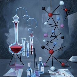 Pixar artist Don Shank also creates original paintings with a great geometric aesthetic.