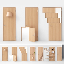Nendo Seven Doors - completely rethinking the door 7 ways to commemorate the 70th anniversary of Abe Kogyo, a manufacturer of wooden front and interior doors, partitions, fixtures and custom-made furniture.