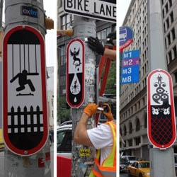 50 unconventional street signs, a public art project from the Dept. of Transportation, placed throughout NYC till the end of August. By artist and designer Ryan McGinness.