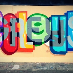 British graffiti artist Peter Preffington paints various words in one image.