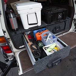 The ultimate modular drawer system for your truck/SUV. ARB Outback Solutions Modular Roller Drawers have transformed the organization of the NOTFZJ80! The drawers roll out, the tops roll out for easy access, and the sides fit perfectly.