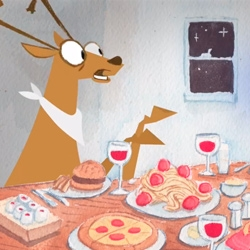Dr Breakfast ~ A hilarious animated short from Stephen Neary about deer preparing dinner and a soul's escape to consume everything for breakfast!