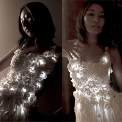 LED dress by designer Mary Huang takes tech fashion to a new level with her aptly called fashion line Rhyme & Reason. Batteries not included.