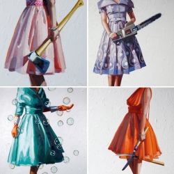 Kelly Reemsten's amazing oil paintings ~ a juxtaposition of party frocks and simple tools... like chainsaws, bolt cutters, axes, monkey wrenches, dish gloves and more!