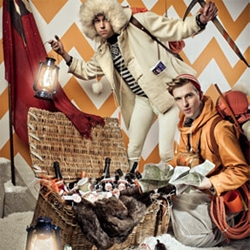 Bompass & Parr's ultimate Adventure Hamper ~ filled with everything from axes and flares to magnums of champagne (vintage piper!) as well as culinary delights for the finest of palettes.