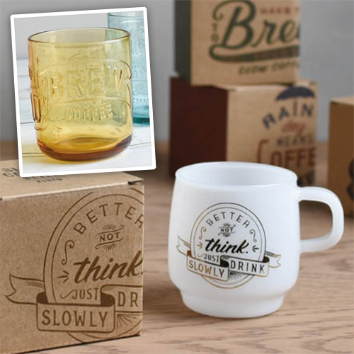 "Kinto Slow Coffee Style Collection Sign Paint Mugs (in milky glass) and embossed Cold Brew Coffee Tumblers! ""Better Not Think. Just Slowly Drink."" Also love ""Let your mind wander."""