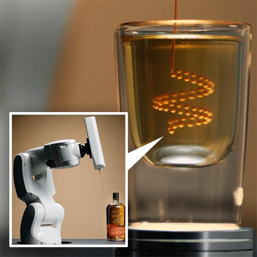 "Bulleit 3D Printed Frontier includes PRINT A DRINK by Benjamin Greimel which uses a robot arm to ""print"" or inject microliter-drops of edible liquid which are suspended inside a shot of bourbon... in their 3D printed bar."