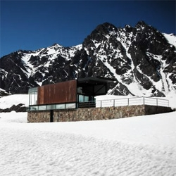 A stone+steel ski stop in Portillo, Chile by dRN Arquitectos