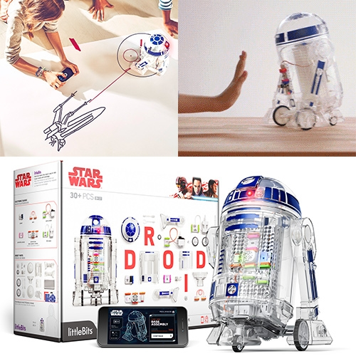 littleBits Star Wars DROID INVENTOR KIT! Build it yourself, program it to do 16+ missions (like force drive, drawing, secret message keeping, self navigation) and you can customize the body to just about anything.