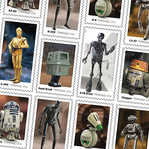"USPS Star Wars Droid Stamps featuring IG-11, R2-D2, K-2SO, D-O, L3-37, BB-8, C-3PO, a GNK (or Gonk) power droid, 2-1B surgical droid and C1-10P, commonly known as ""Chopper"" coming in the Spring."