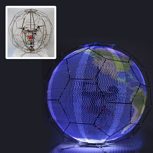 DOCOMO Spherical Drone Displays. The device comprises a spherical external frame, an internal LED frame consisting of a series of eight curved LED strips that extend from top to bottom, a drone fitted inside the sphere and legs protruding underneath.