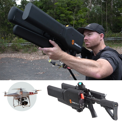DroneShield DroneGun - It immediately ceases video transmission back to the drone operator and enables investigation, since the drone remains intact and available for investigation.
