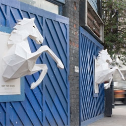 Phil Clandilon, Steve Milbourne and Xavier Barrade's poster project, for a new band Dry the River features huge paper sculpted horses that literally pop out at you.