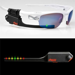 4iiii Sportiiiis Heads Up Display for Athletes ~ clip it to glasses, and it guides you with multi-colored LEDs. A simple tap of the unit gives you a verbal update on your current performance and can be programmed to visually respond to data from ANT+ devices.