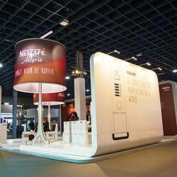 Qupix designed a booth for Nestlé Nescafé with hand drawn furniture.