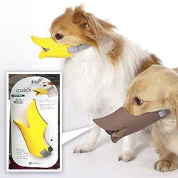 OPPO Quack - a soft silicon small dog muzzle that looks like a duck bill from Japan. There's also a closed bill one (with air holes on the bottom).