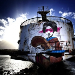 The Duke of Lancaster, an abandoned ship off the North Wales coast has been brought back to life after being covered in intricate street art.
