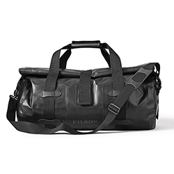 Filson Dry Duffle Bag - vinyl-coated polyester with roll top hook and loop closure keeps everything out.