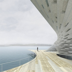 Kengo Kuma and associates' winning design for Dundee's V&A museum which is set to open in 2014.
