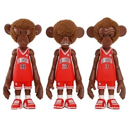 """Korean toy artist Coolrain's Dunkeys series of monkey characters celebrating hoops and sneaker culture.  MINDstyle brings them into production vinyl in both 18"""" and 5"""" forms."""