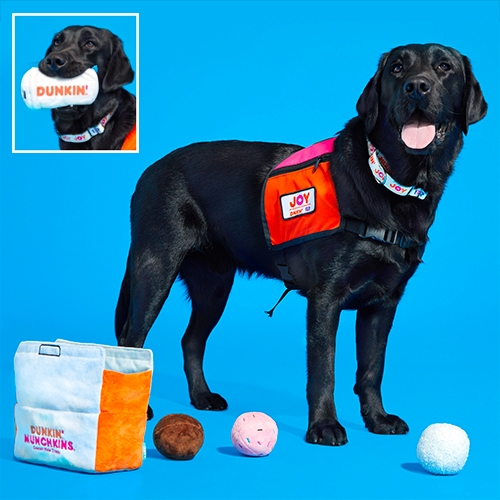Dunkin' x BARK for Dunkin' Joy in Childhood Foundation (along with their cute black lab/golden mix Cooper Dunkin') have launched dog toys! Hot coffee and a box of Munchkins donut holes.