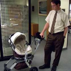 "Dwight on The Office last night tried to destroy an Orbit Baby stroller in an ""extreme road test""."